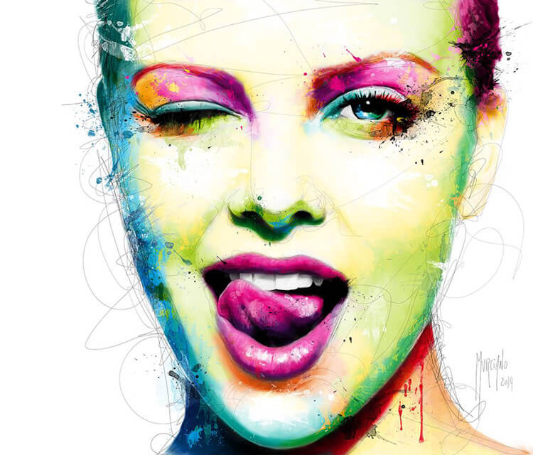 Woman face, mixed media by Patrice Murciano