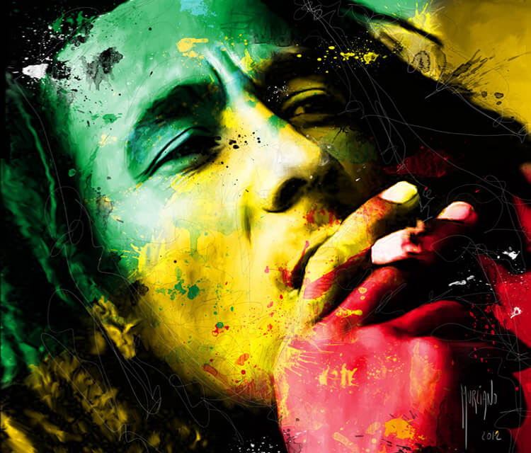 Bob Marley, mixed media by Patrice Murciano