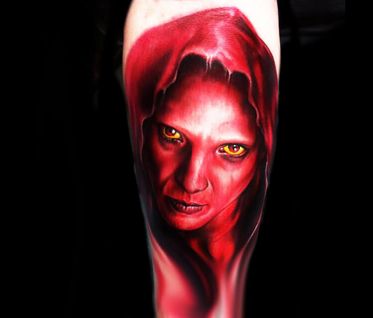 Devil from Passion of the Christ tattoo by Paul Acker