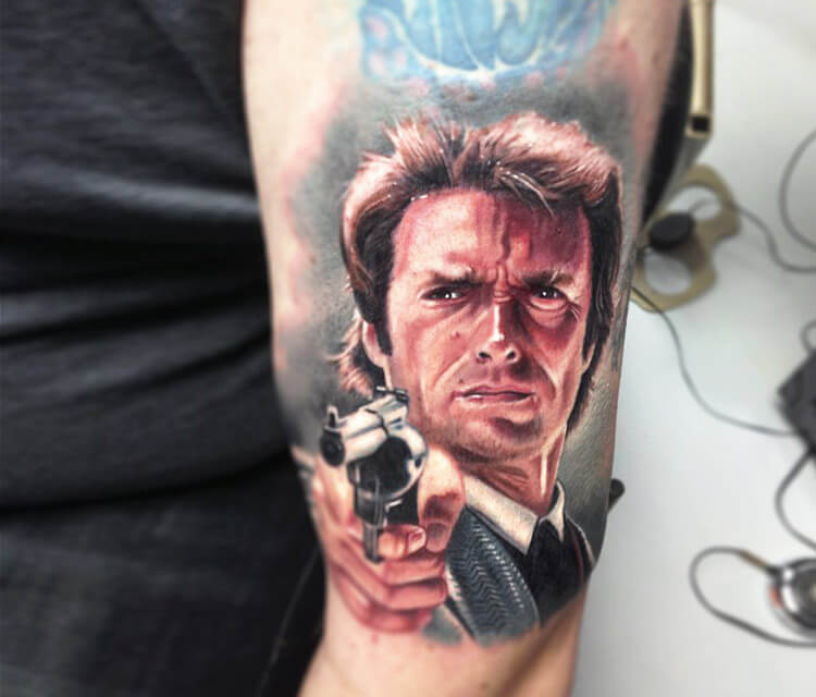 Little Dirty Harry tattoo by Paul Acker