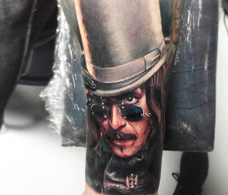 Dracula portrait tattoo by Paul Acker