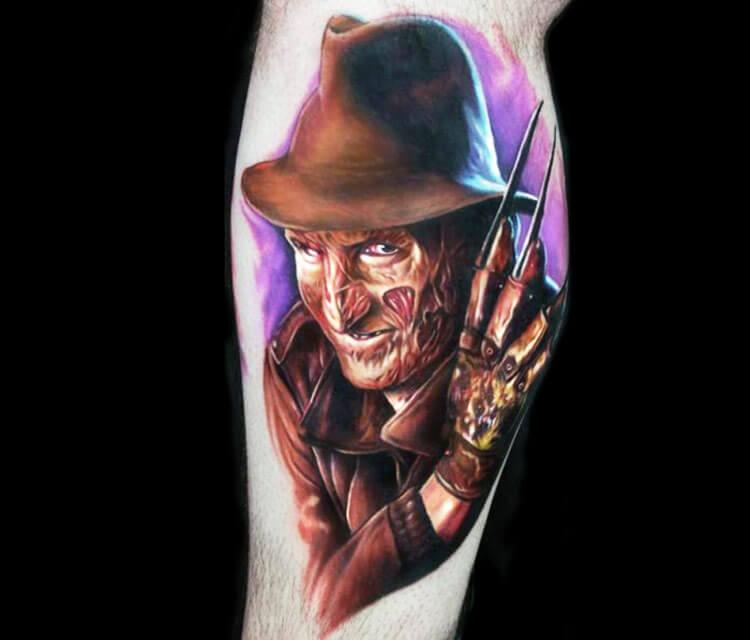 Freddy Krueger portrait tattoo by Paul Acker