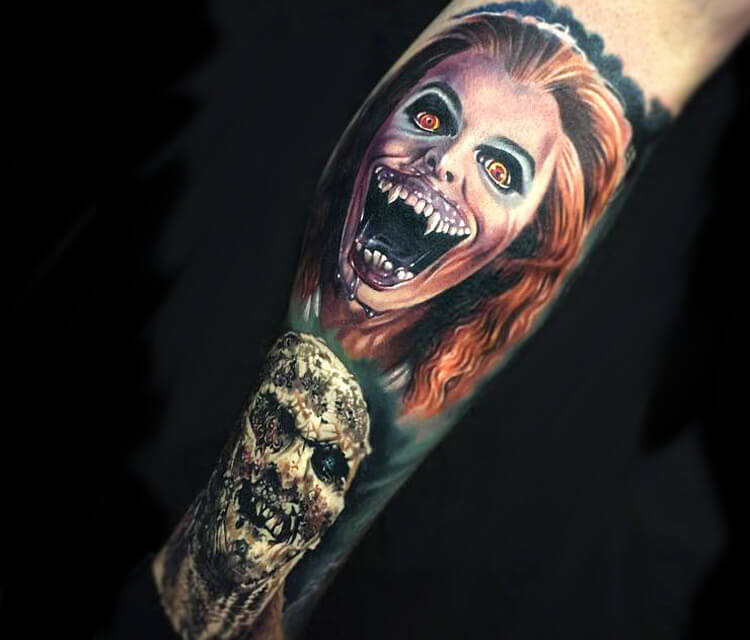 Horror leg tattoo by Paul Acker