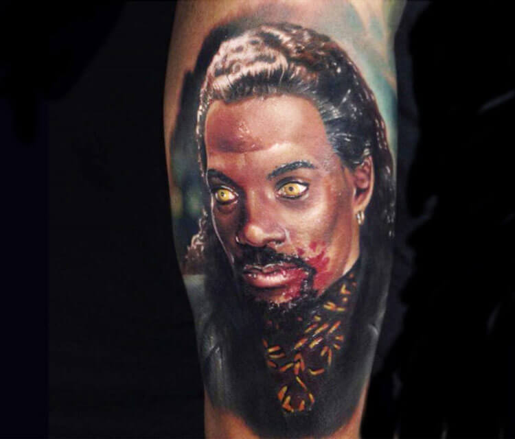 Realistic horror portrait tattoo by Paul Acker