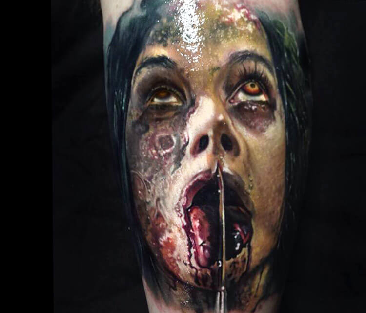Horror portrait tattoo by Paul Acker