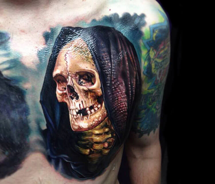 Horror skull tattoo by Paul Acker