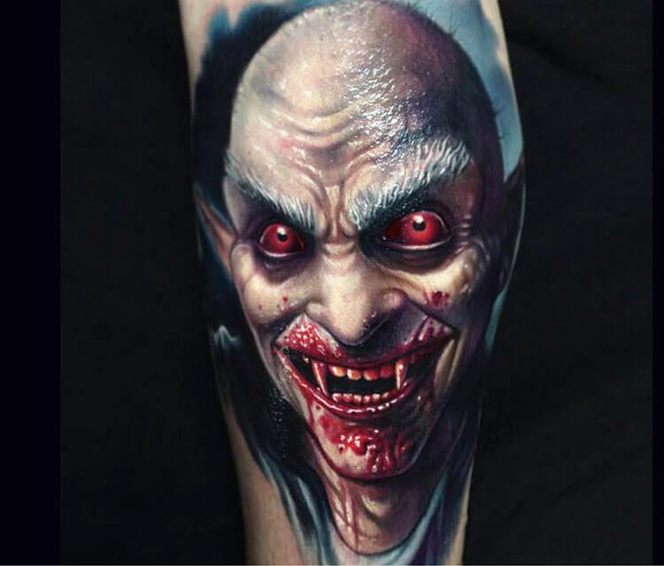 Realistic horror vampire monster tattoo by Paul Acker