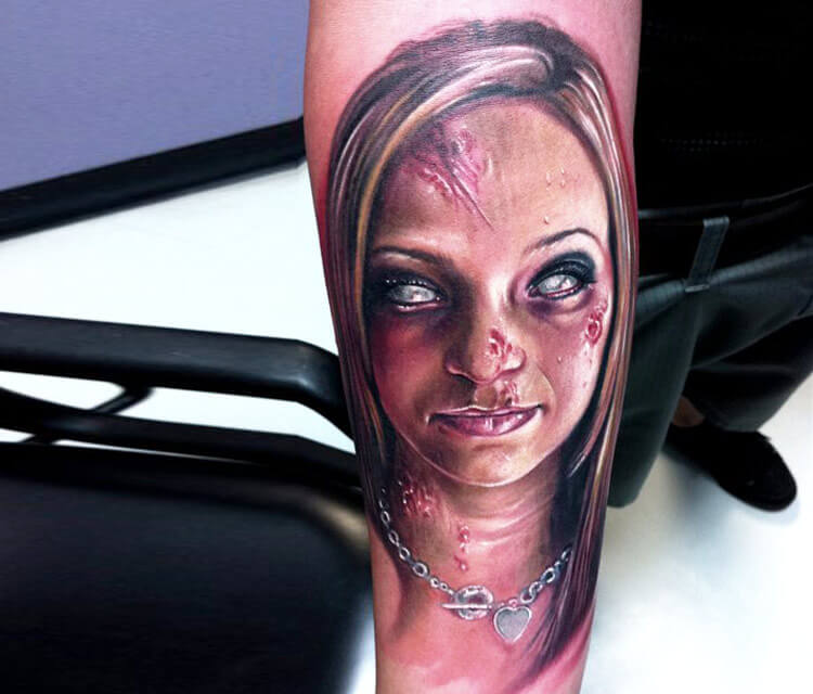 Horror woman portrait tattoo by Paul Acker