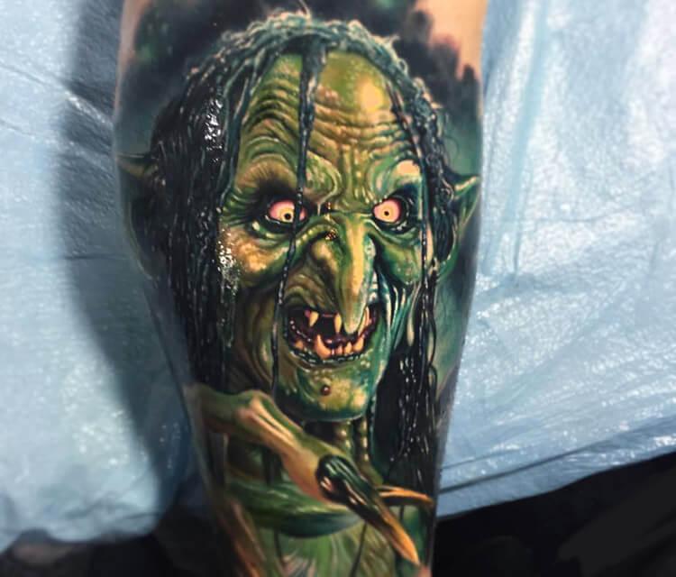Meg Mucklebones tattoo by Paul Acker