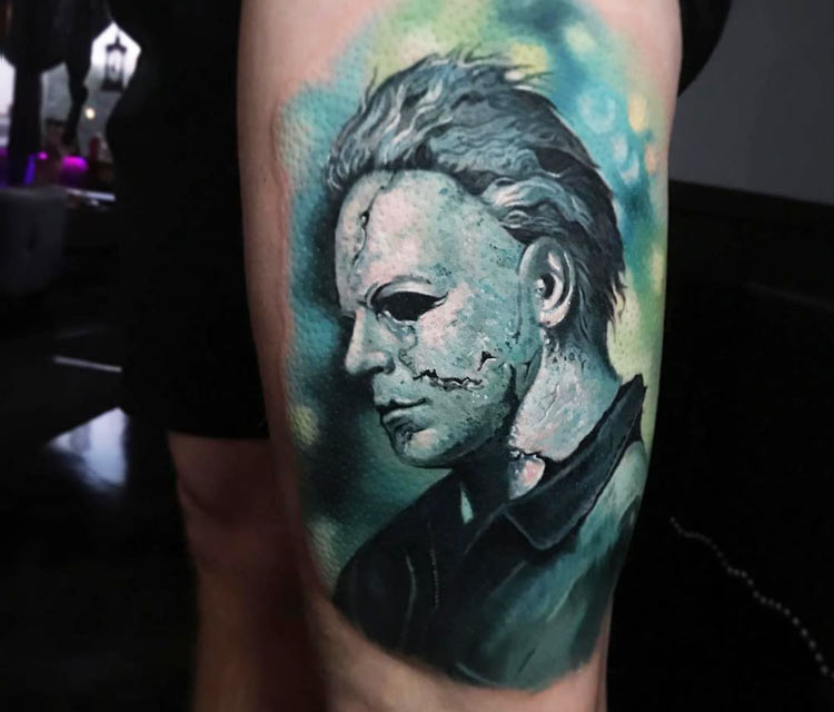 Michael Myers tattoo by Paul Acker