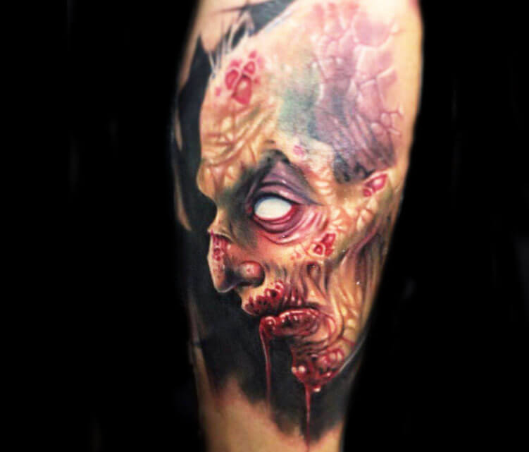Horror monster tattoo by Paul Acker