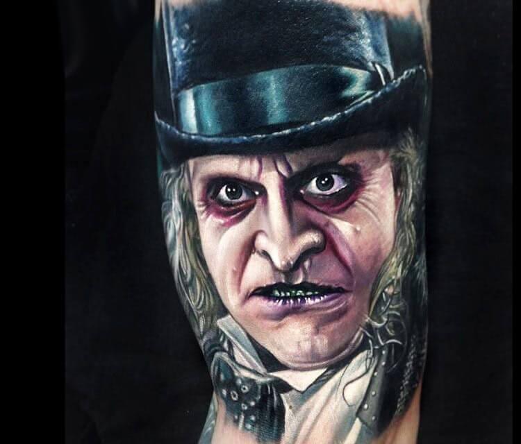 Penguin Oswald portrait tattoo by Paul Acker