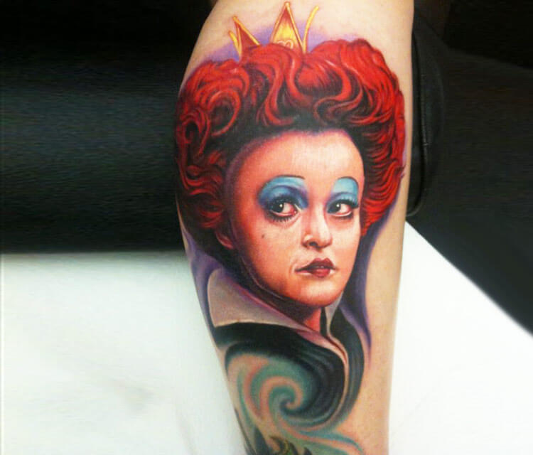Portrait red queen tattoo by Paul Acker