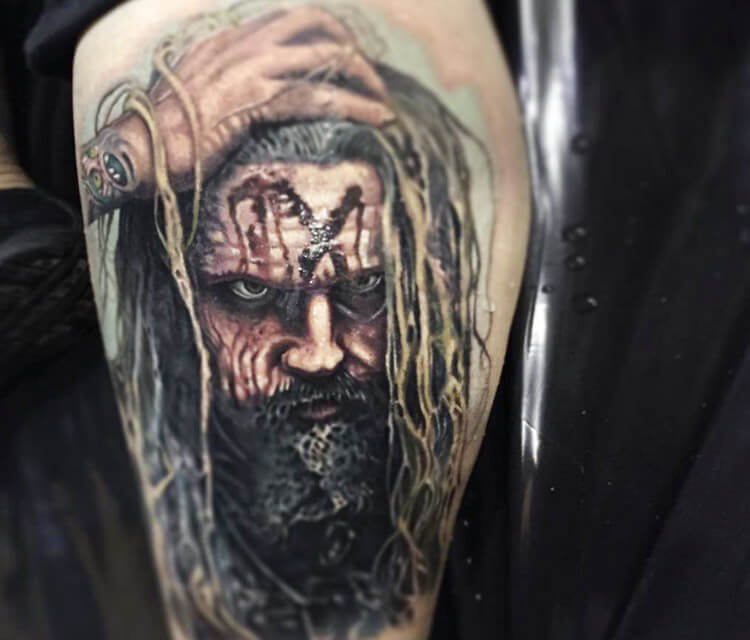 Rob Zombie portrait tattoo by Paul Acker