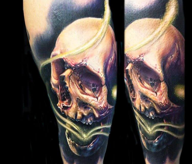 Skull tattoo works by artist Paul Acker