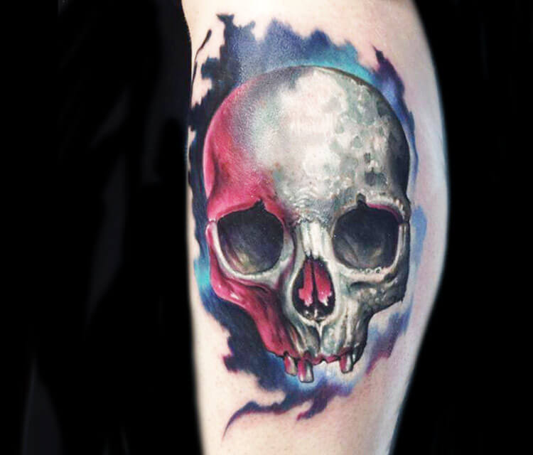 Skull tattoo by artist Paul Acker