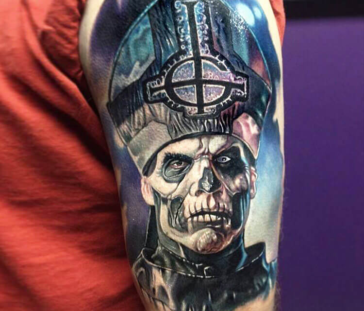 The Band Ghost tattoo by Paul Acker