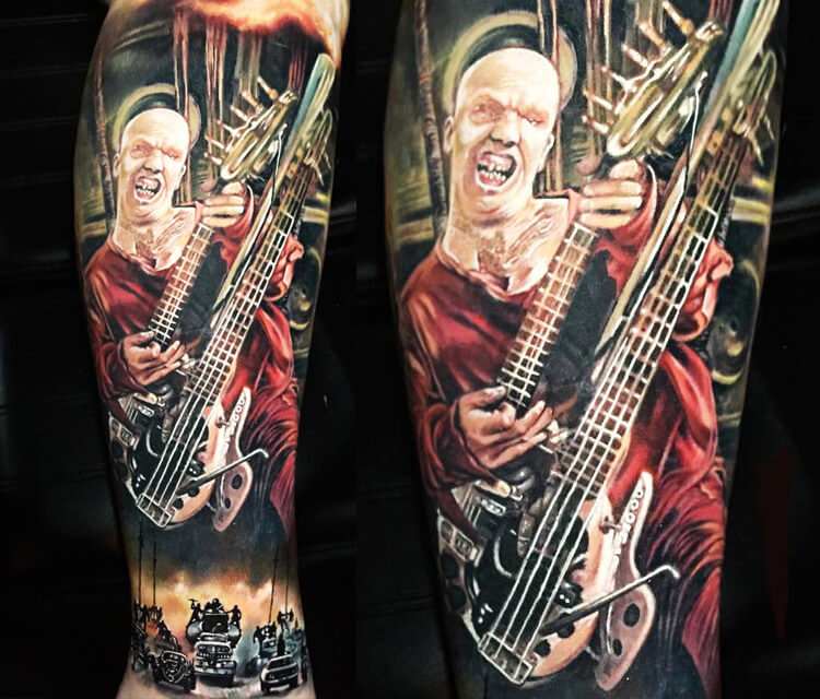 The Doof Warrior tattoo by Paul Acker