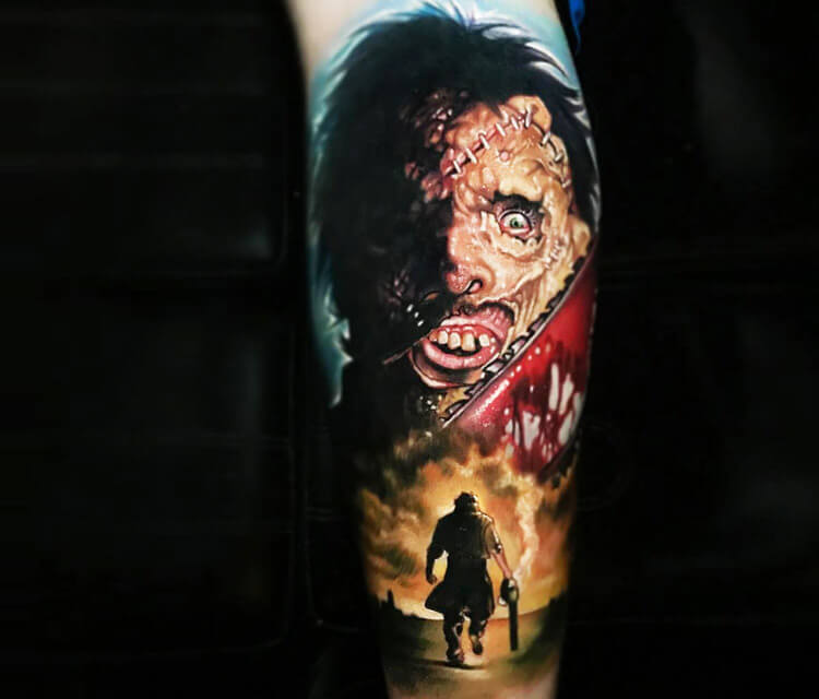 The Texas Chainsaw Massacre tattoo by Paul Acker
