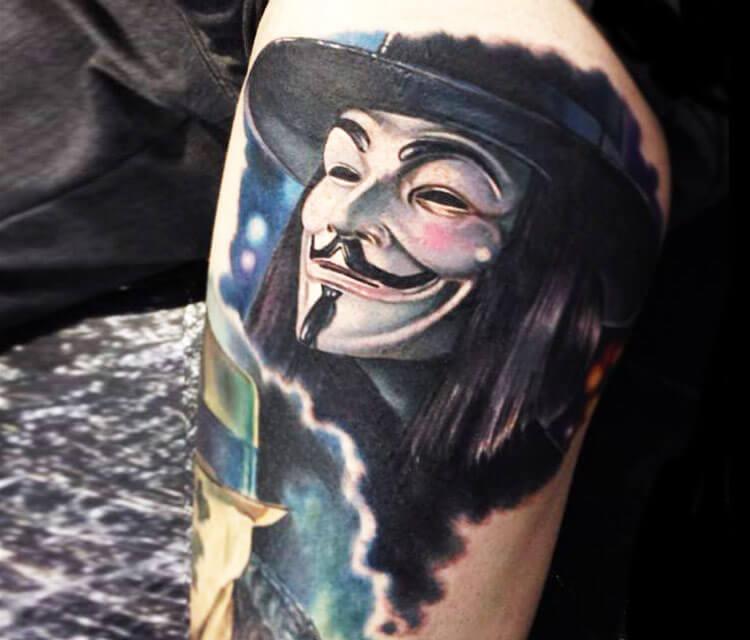 V for Vendetta tattoo by Paul Acker