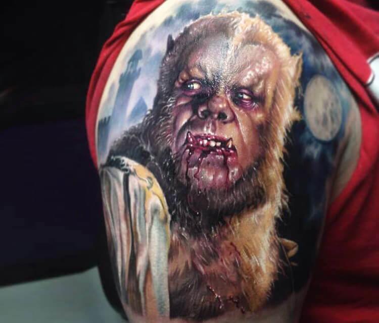 Werewolf tattoo by Paul Acker
