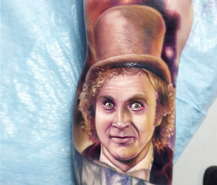 Willy Wonka portrait tattoo by Paul Acker