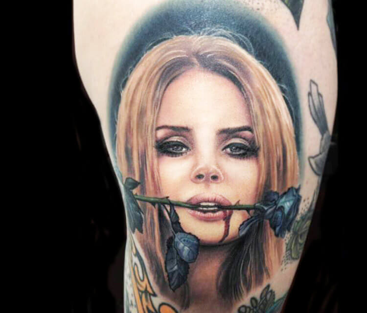 Lana Del Rey Portrait Tattoo By Paul Acker
