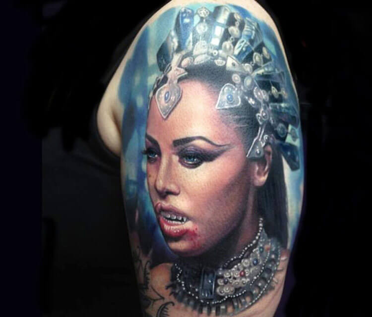 Realistic Vampire Woman Tattoo By Paul Acker