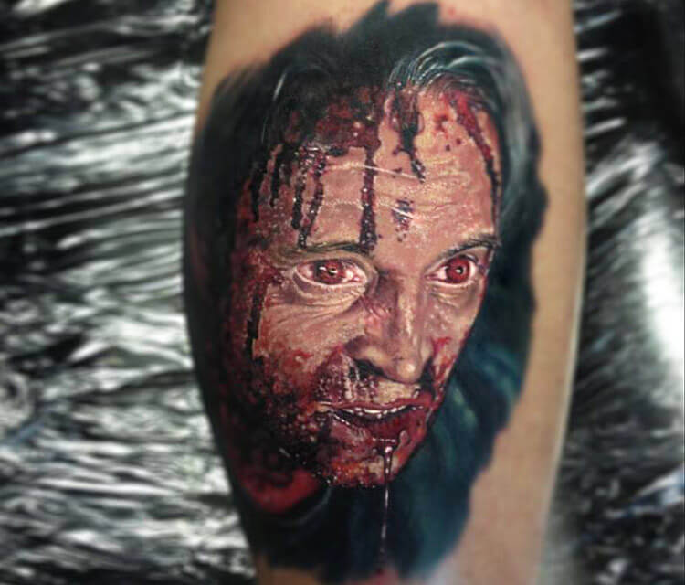 Horror zombie portrait tattoo by Paul Acker
