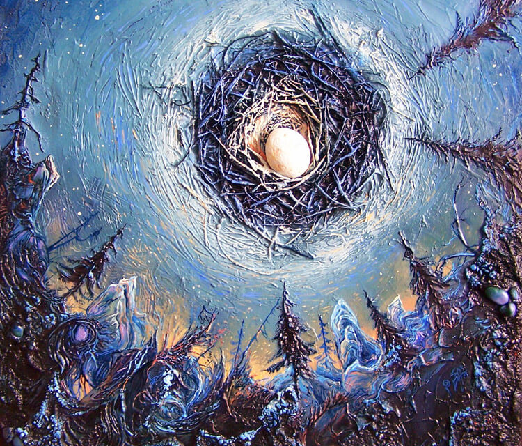 Albins copious moon acryl painting by Peter Zuffa Bodliak