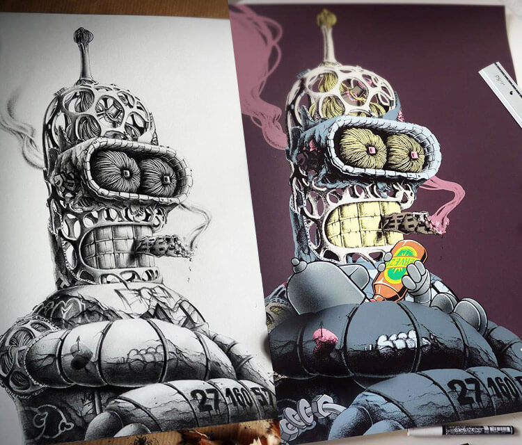 Bender from Futurama drawing by Pez Art