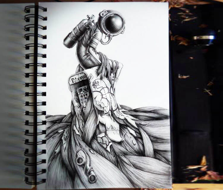 911 Astronaut sketch drawing by Pez