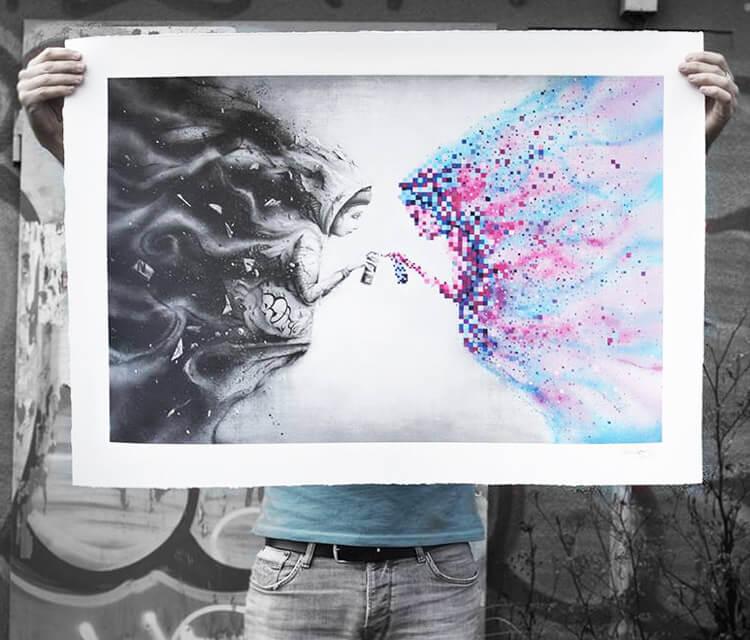 Black Mirror print drawing by Pez Art
