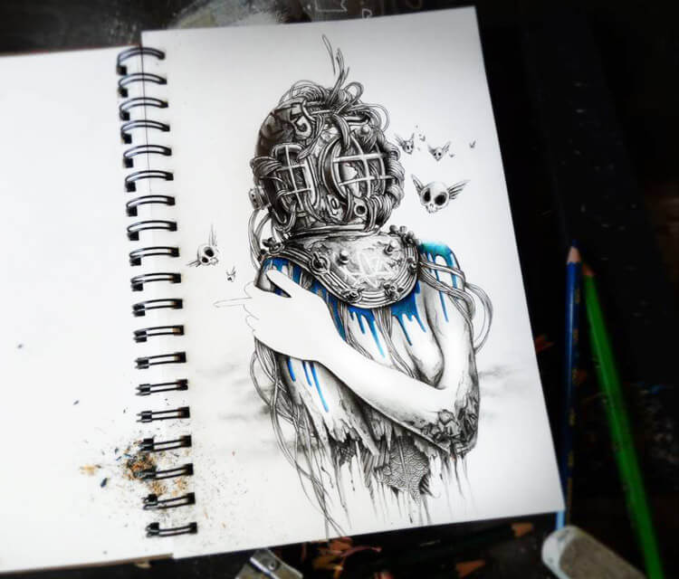 Deep sketch drawing by pez Art