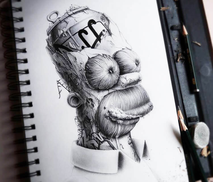 Homer Simpson sketch by Pez Art