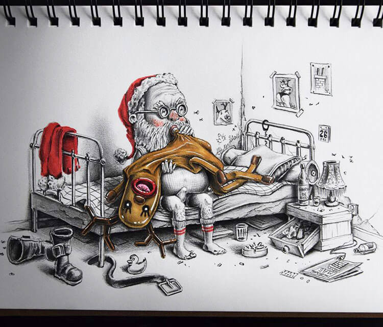 Mrs Claus sketch drawing by Pez Art
