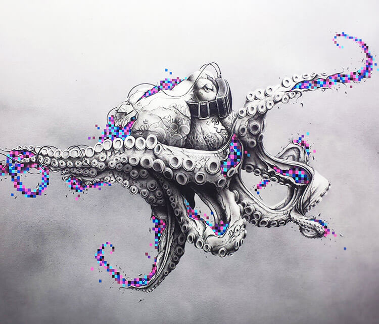 Octopus rift pencil drawing by Pez Art