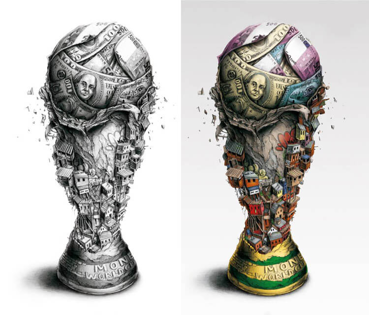 World Cup Trophy drawing by Pez Art