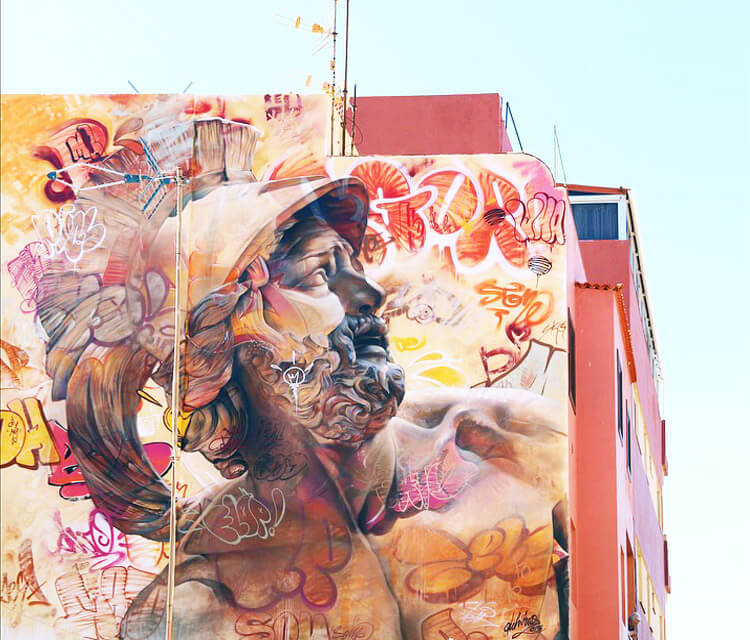 Urban Warrior streetart by Pichi Avo