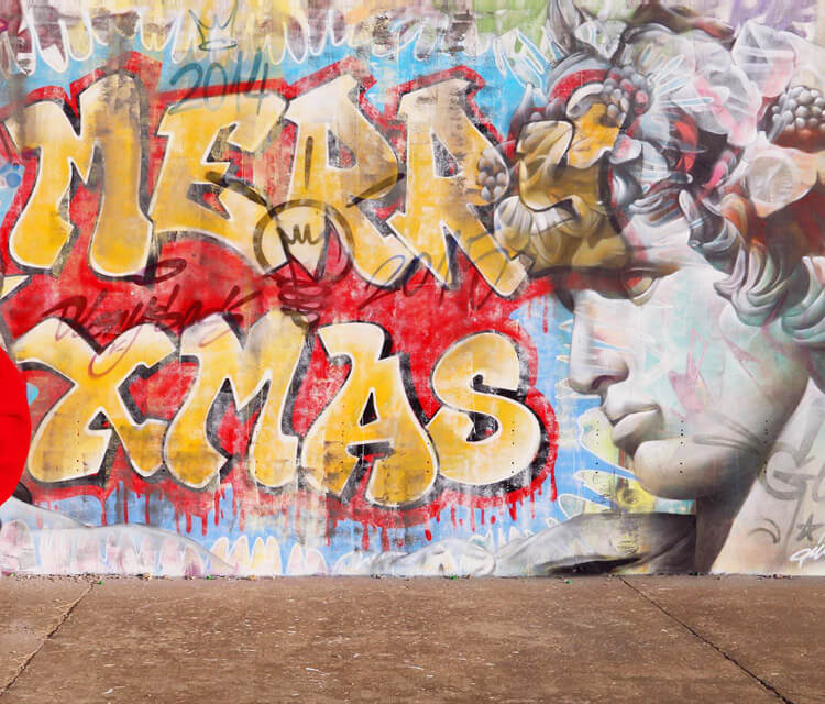 Marry Xmas streetart by Pichi and Avo