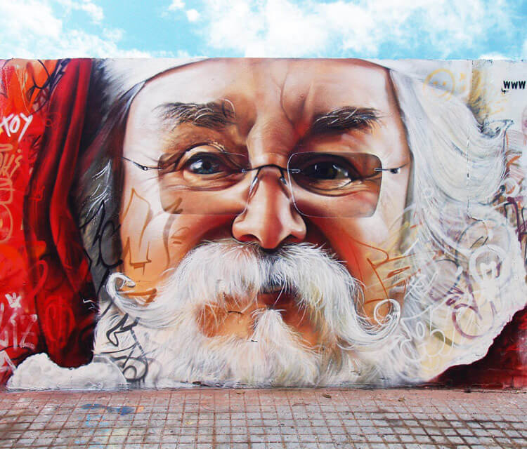 Santa Claus mural streetart by Pichi and Avo