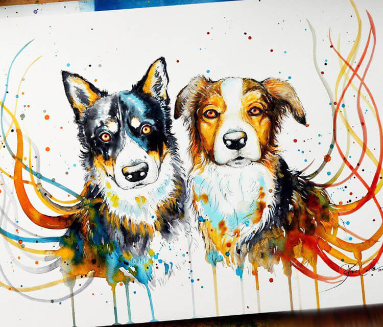 Best Buddies watercolor painting by Pixie Cold