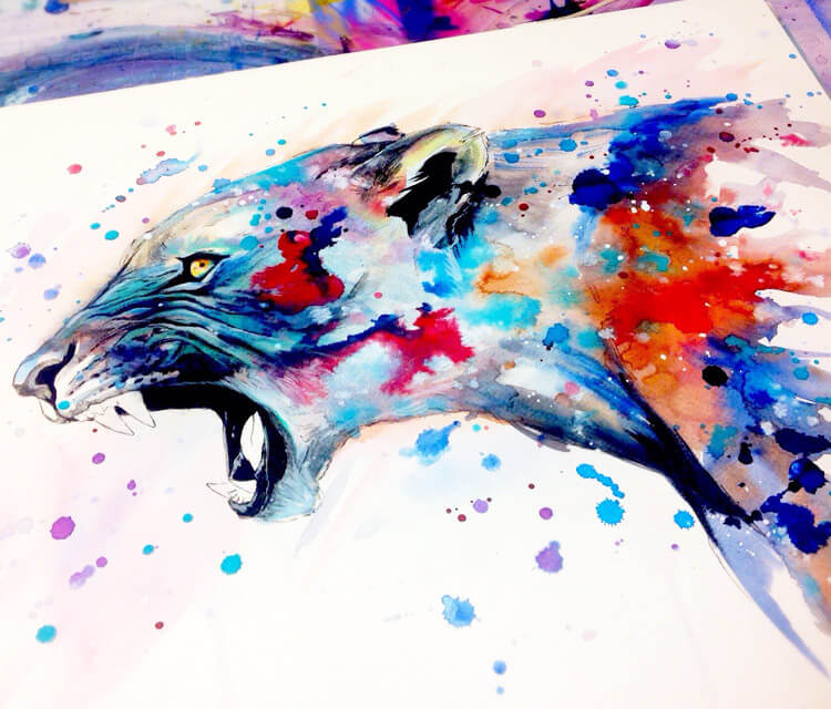 Breaking out of society watercolor painting by Pixie Cold