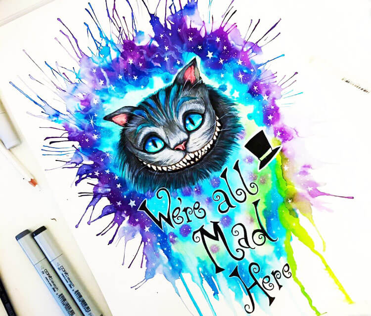 Cheshire Cat marker drawing by Pixie Cold
