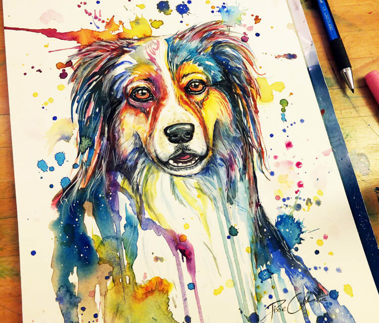 Dogy Friend watercolor painting by Pixie Cold