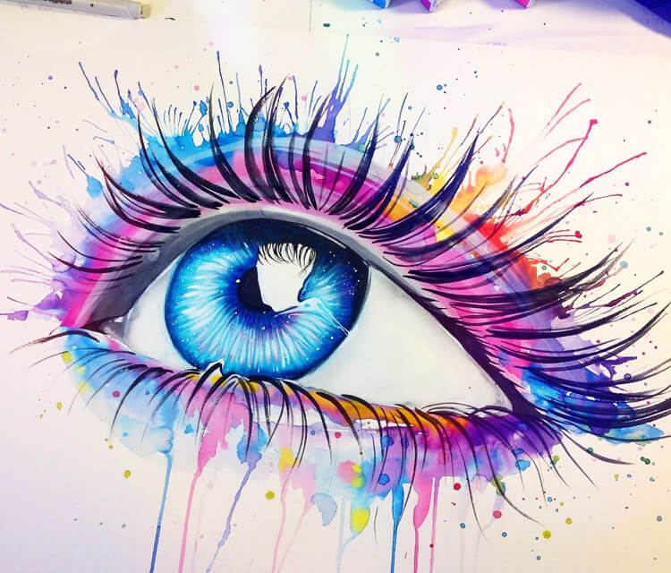 Eyes is just fun watercolor painting by Pixie Cold
