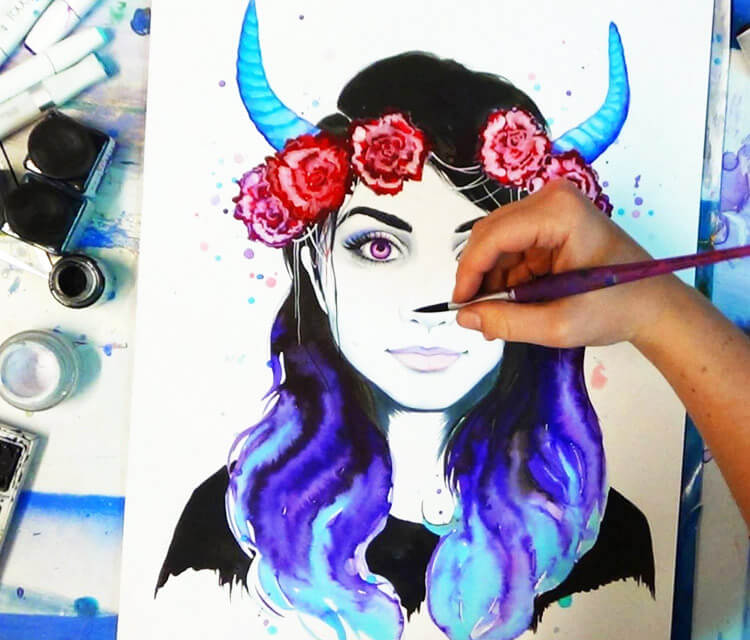 girl with horns   by Pixie Cold