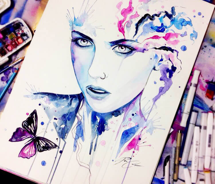 I cant Leave watercolor painting by Pixie Cold