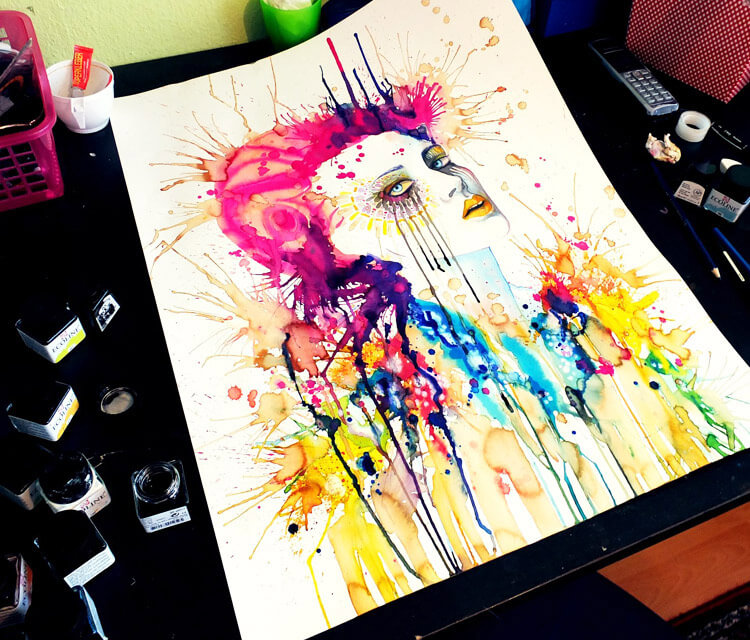 In progress watercolor painting by Pixie Cold
