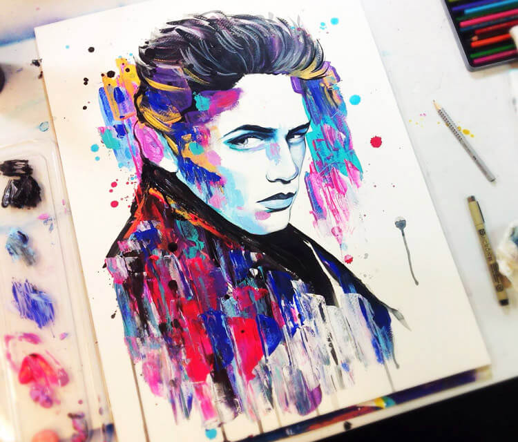 James Dean watercolor painting by Pixie Cold
